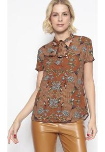 Blusa Floral Com Amarração- Marrom & Verde- Vip Resevip Reserva