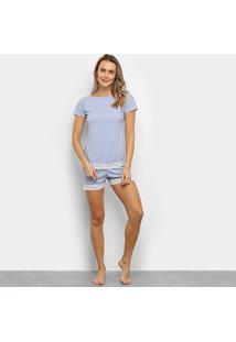 Pijama Lupo Renda Feminino - Feminino-Azul