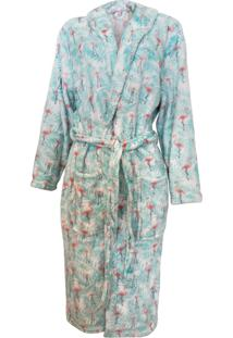 Roupão Adulto Feminino De Microfibra Flannel - Appel - Tropical