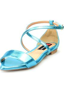 Sandalia Traseiro Love Shoes Rasteira Bico Folha Delicada Metalizado Azul
