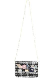 Bolsa Clutch Bicolor Com Aplicação De Flores Frontal E Alça Removível