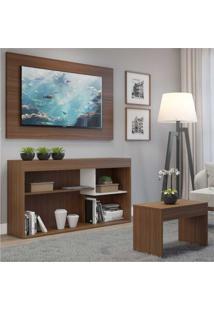 Rack C/Painel Tv Até 55 Pol. E Mesa Centro Dubai Multimóveis Nogueira/Branco Polar Ref.2830.935