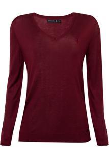 Suéter Dudalina Tricot Liso Decote V Feminino (Vermelho Medio / Medium Red, M)