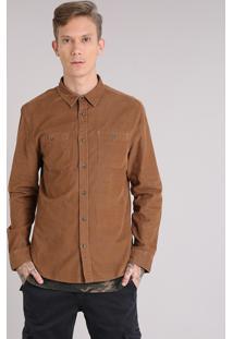 Camisa Masculina Em Veludo Cotelê Com Bolsos Manga Longa Caramelo