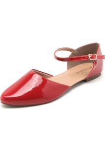 Sapatilha Fiveblu Verniz Vermelha - Vermelho - Feminino - Dafiti