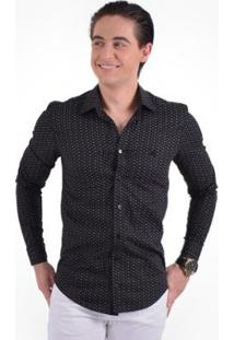 Camisa Social Estampada Masculina Slim - Masculino-Preto