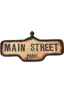 Placa Decorativa Main Street Paris
