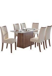 Sala De Jantar Nevada 170Cm Plus Com 6 Cadeiras Imbuia Linho Rinzai Bege