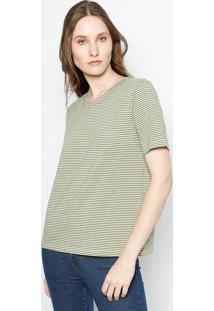 Camiseta Listrada - Cinza & Amarelacanal