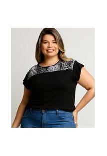 Blusa Plus Size Feminina Recorte Animal Print