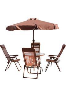 Conjunto Monaco 4 Cadeiras Alumínio Tecido Mesa Guarda Sol Marrom Belfix