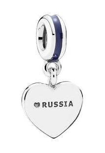 Charm Pendente Coração Russo- Prata- Pandorapandora