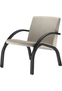 Poltrona Harmony Lounge Assento Courino Bege Com Bracos E Base Preta - 55029 - Sun House