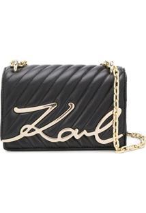 Karl Lagerfeld Bolsa Tiracolo Matelassê Com Logo - Preto