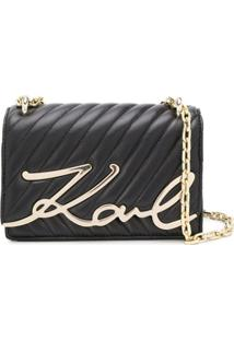 Karl Lagerfeld Signature Quilted Shoulder Bag - Preto