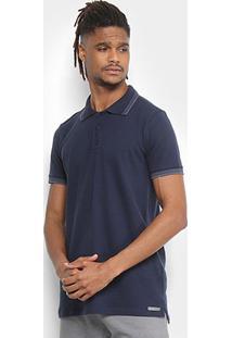 Camisa Polo Kohmar Piquet Elastano Friso Masculina - Masculino-Azul