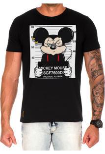 Camiseta Lucas Lunny T Shirt Estampada Mickey Preto