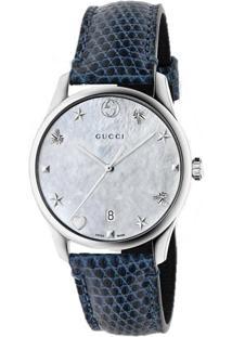 c5d7bb078efc6 Relógio Gucci Feminino Couro Azul - Ya1264049
