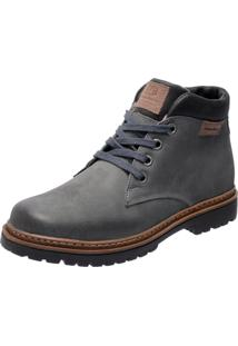 Bota Coturno Em Couro Mega Boots 6018 Cinza