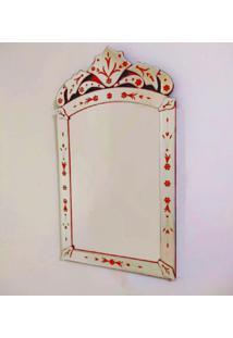 Espelho Veneziano Decorativo, Sala, Indiano Pequeno Plus Vermelho 50X90