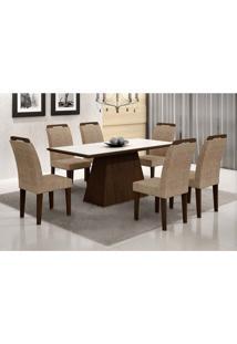Conjunto De Mesa Luna Com 6 Cadeiras Athenas Castor Branco Com Suedi Am. Chocolate