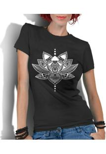 Camiseta Criativa Urbana Flor De Lotus Budista - Feminino-Preto