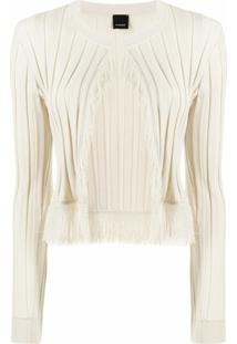 Pinko Pleated Fringe Detail Cardigan - Neutro