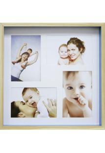 Quadro Para Fotos Wood Natural E Azul 30X30Cm