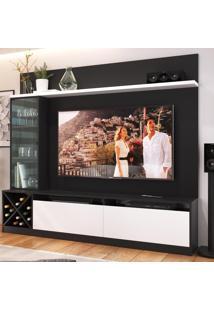 Rack Com Painel Para Tv Até 50 Polegadas 2 Portas 2021 Ptx/Bac Preto/Branco - Quiditá Móveis