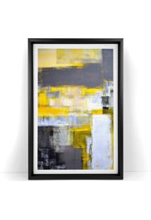 Quadro Com Moldura Chanfrada Abstrato Amarelo 60X90 - Multicolorido - Dafiti