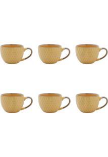 Conjunto De Xícaras Para Café Escamas Amarelo 90 Ml