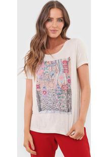 Camiseta Carmim Carpet Bege - Bege - Feminino - Poliamida - Dafiti