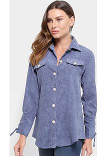 Camisa Manga Longa Adooro Veludo Cotelê Botões Amarração Feminina - Feminino-Azul