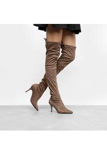 Bota Over The Knee Cano Alto Zatz Salto Fino Feminina - Feminino-Cinza