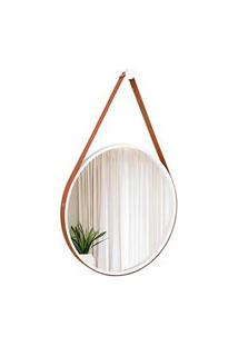Espelho Decorativo Adnet Branco Com Alça Em Corino Caramelo 40Cm Redondo - E2G Design
