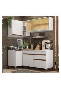 Cozinha Completa De Canto Madesa Reims 262001 Com Armário E Balcáo - Branco Branco