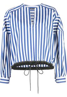 Derek Lam Long Sleeve Stripe Poplin Top With Drawstring Hem - Azul