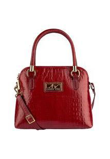 Bolsa De Mão Em Couro Andrea Vinci Donna Vermelha
