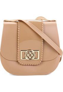 Bolsa Petite Jolie Flap Detalhe Verniz Alça Transversal Saddle Bag Feminina - Feminino-Caramelo