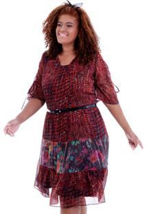 Vestido Cigano Marietta Plus Size Vickttoria Vick Plus Size Vermelho - Vermelho - Feminino - Dafiti