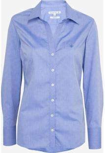 Camisa Dudalina Manga Longa Tricoline Fio Tinto Maquinetado Feminina (Azul Claro, 38)