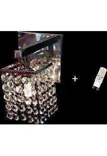 Arandela Parede Lustre Cristal Area Interna Jp/Arsaga/11 + Lâmpada G9 Branco Quente 110V