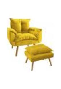 Conjunto Poltrona Decorativa Com Puff Opala Plus Suede Amarelo
