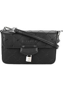 Bolsa Ellus Flap Shoulder Bag Monograma Feminina - Feminino-Preto