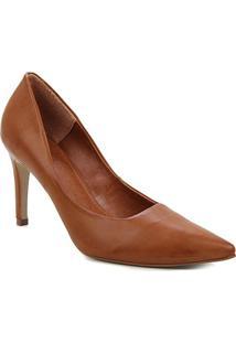 Scarpin Couro Shoestock Salto Alto Atanado Graciela - Feminino-Caramelo