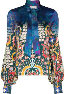 Peter Pilotto Blusa Com Estampa Floral - Blue/Emerald
