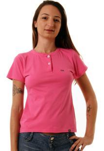 Camiseta Feminina Oitavo Ato Henley Pink - Rosa - Feminino - Dafiti