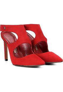 Scarpin Couro Santa Lolla Salto Alto Chanel Nobuck - Feminino-Vermelho