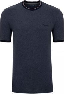 Camiseta Pierre Cardin Moline Com Retilíneas Azul Marinho