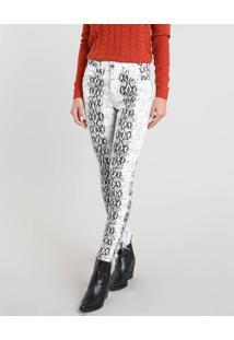 c7e29561d ... Calça Feminina Skinny Estampada Animal Print Off White